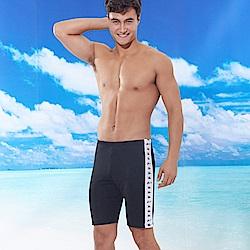 男四角泳褲長版素色白邊黑色(T-916) TiNyHouSe