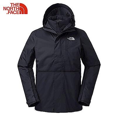 The North Face北面男款黑色防水透氣三合一夾克|3L8OKX7