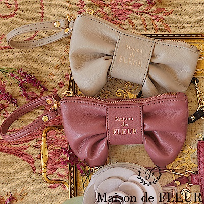 Maison de FLEUR 光澤感蝴蝶結造型零錢包