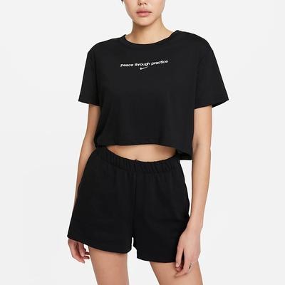 Nike SS CROP YOGA 2 短版 女短袖上衣-黑-DJ6236010