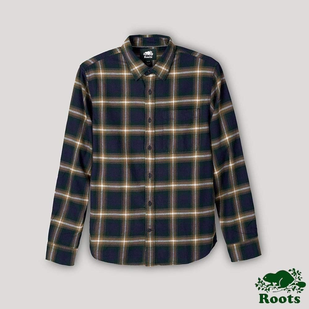 Roots男裝- 棉質格紋長袖襯衫-綠色