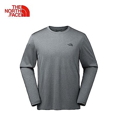 The North Face北面男款灰色吸濕排汗戶外長袖T恤 2XX1HAT