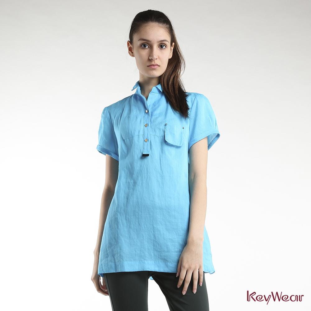 KeyWear奇威名品    100%麻拼接雪紡A-Line修身短袖上衣-藍色