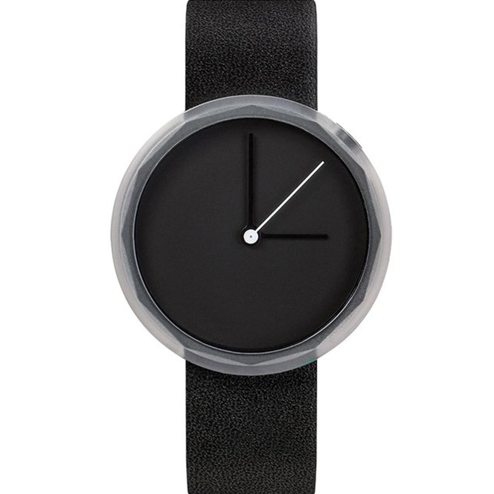 AÃRK 純黑極簡主義真皮革腕錶 -質感黑/38mm @ Y!購物