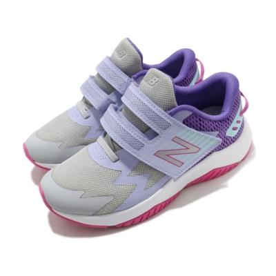 New Balance 慢跑鞋 Rave Run 寬楦 運動 童鞋 紐巴倫 輕量 魔鬼氈 舒適 避震 中童 灰 紫 PTRAVBL1W
