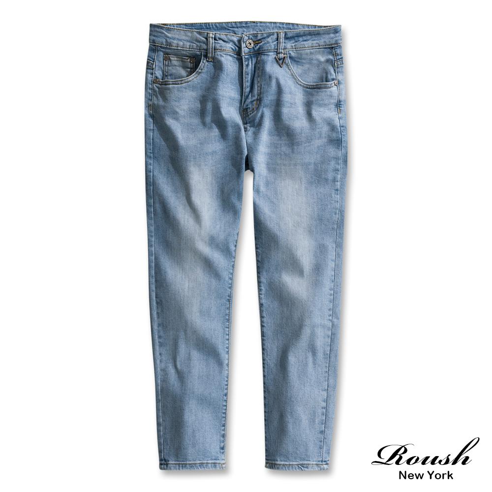 Roush 三角扣環設計淺色刷白單寧褲