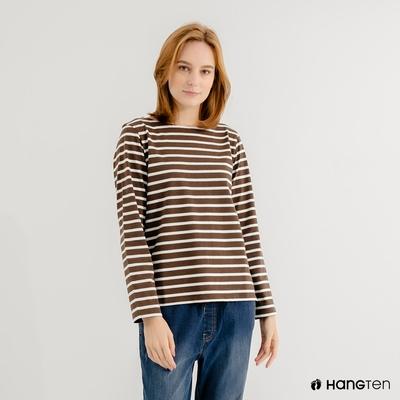 Hang Ten-女裝-ECO環保纖維配條長袖上衣-棕白條紋