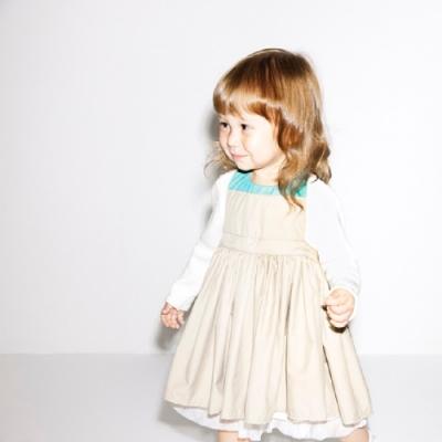 MARLMARL兒童用餐圍裙 女孩/卡其(Baby 80-90cm)