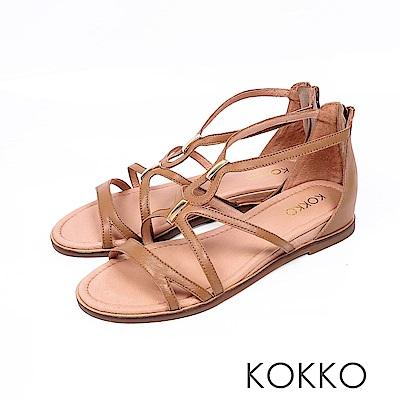 KOKKO  - 秘密約會羊皮內增高羅馬涼鞋-焦糖棕