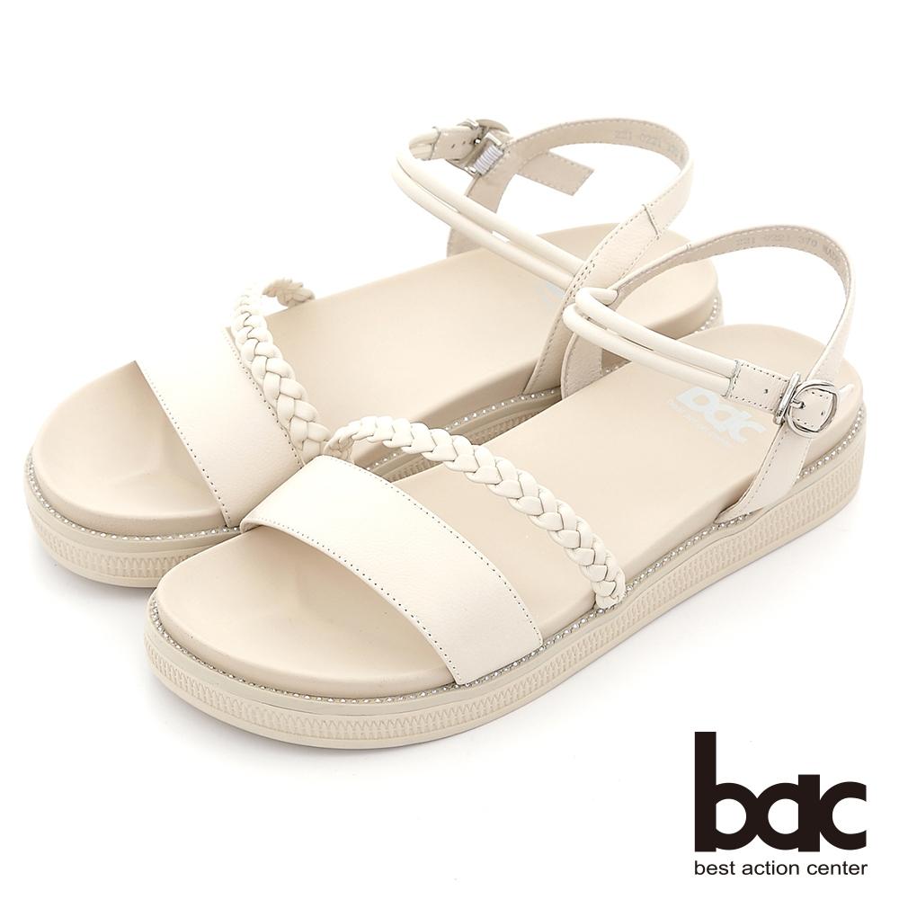 【bac】小清新一字帶編織厚底涼鞋-白
