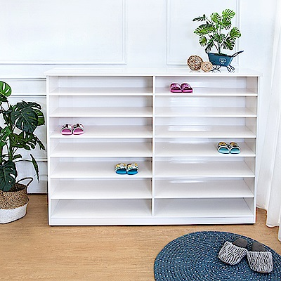 Bernice-防潮防蛀防水塑鋼5尺開放式鞋櫃(白色)-150x34x118cm