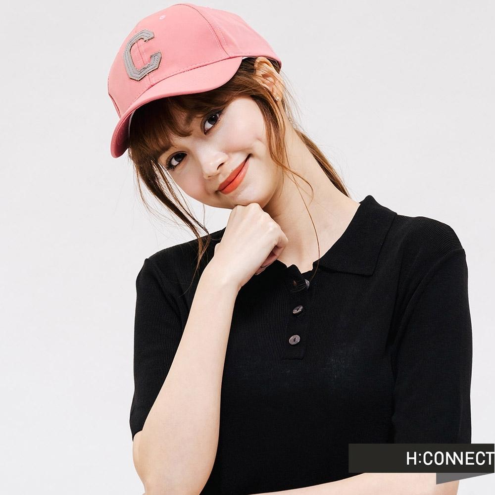 H:CONNECT 韓國品牌 配件 -清新配色刺繡棒球帽-粉