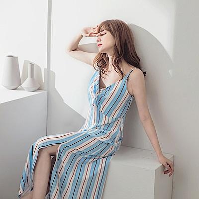 線條印花可調肩帶前開衩連身裙-OB大尺碼
