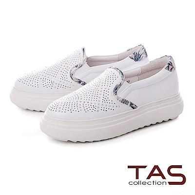TAS 沖孔水鑽拼接花布厚底休閒鞋-夏日白