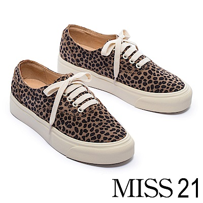 休閒鞋 MISS 21 叢林探索時尚潮流豹紋全真皮厚底休閒鞋-咖