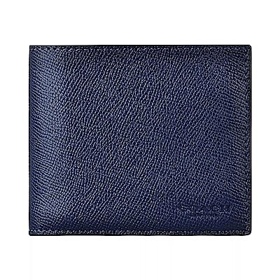COACH專櫃款經典壓印LOGO防刮牛皮10卡對折短夾(深藍)