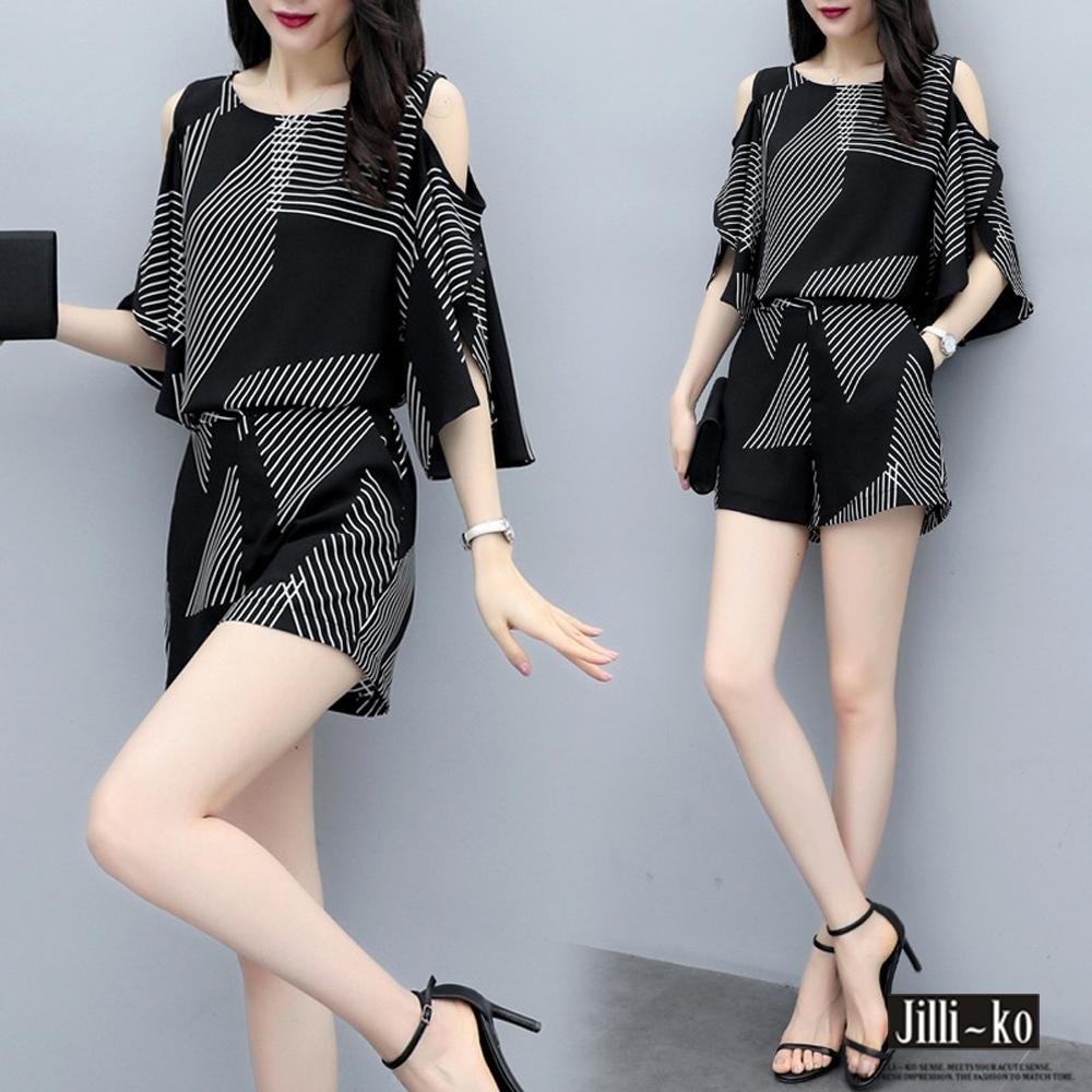 JILLI-KO 兩件套時尚幾何條紋套裝- 黑色