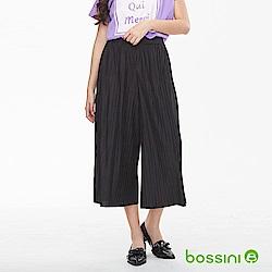 bossini女裝-百摺寬褲黑