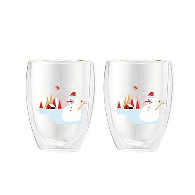 [買一送一]FUSHIMA富島 聖誕限定-Joy樂摯雙層耐熱玻璃杯雪人款350ML