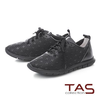 TAS 滿版閃電透氣牛皮運動休閒鞋-低調黑