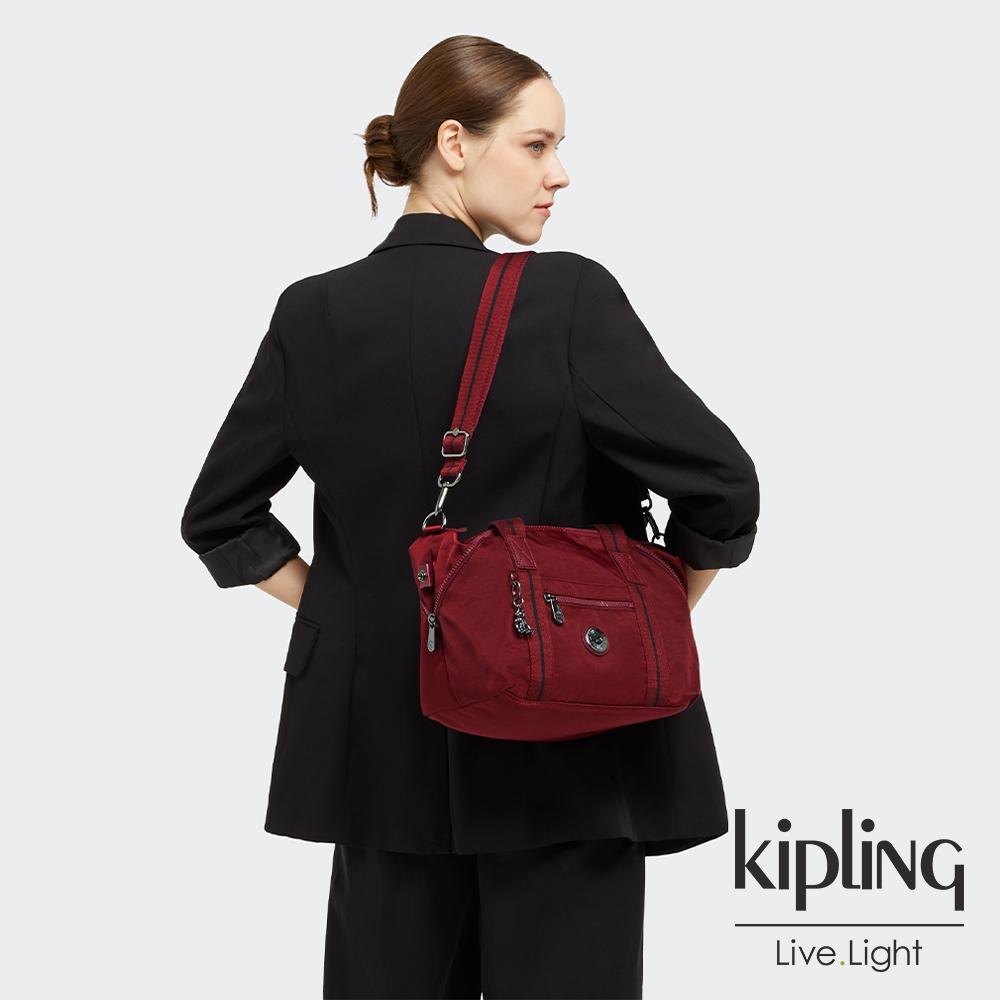 Kipling 大人感紅酒色手提側背包-ART MINI