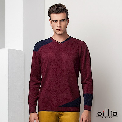 oillio歐洲貴族 長袖小V領毛衣 輕柔羊毛毛料 紅色