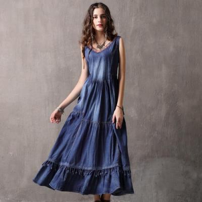 復古刺繡背心牛仔裙蕾絲洋裝S-XL-維拉森林