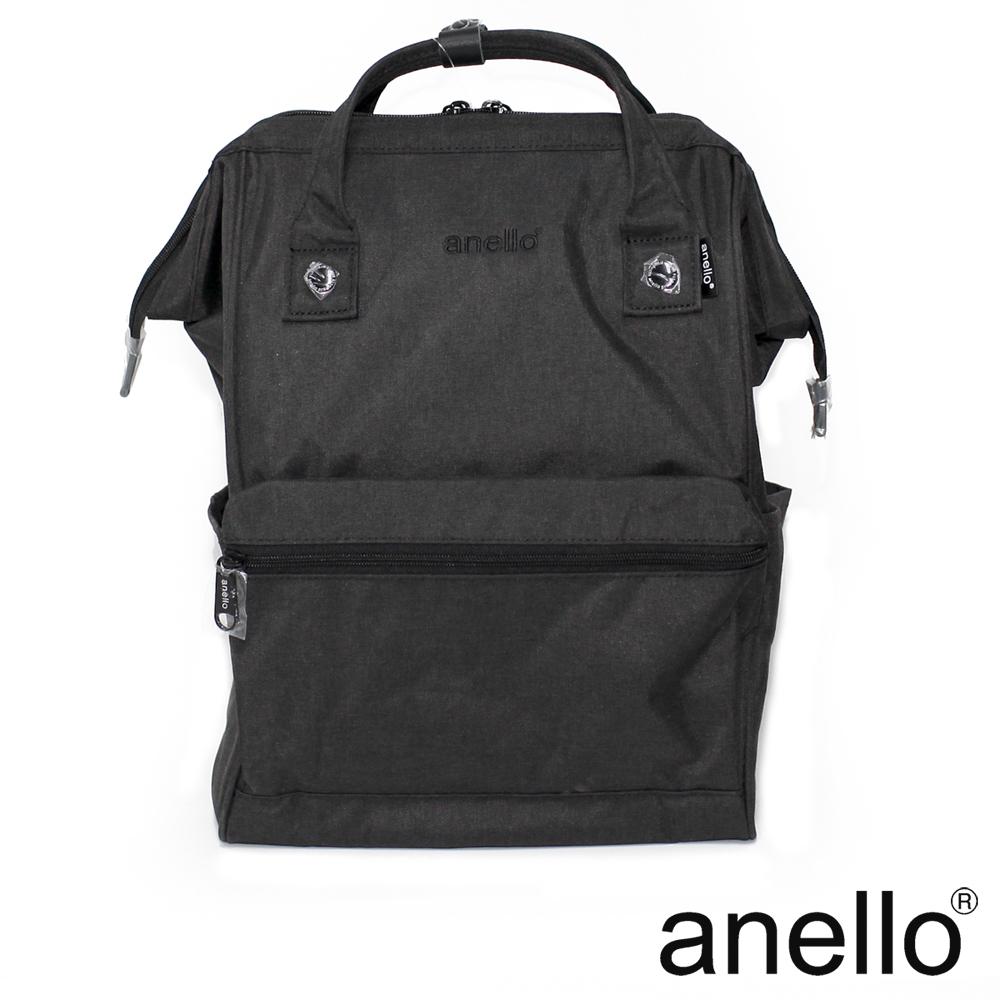 anello 高雅混色紋理 刺繡LOGO後背包 黑色 L