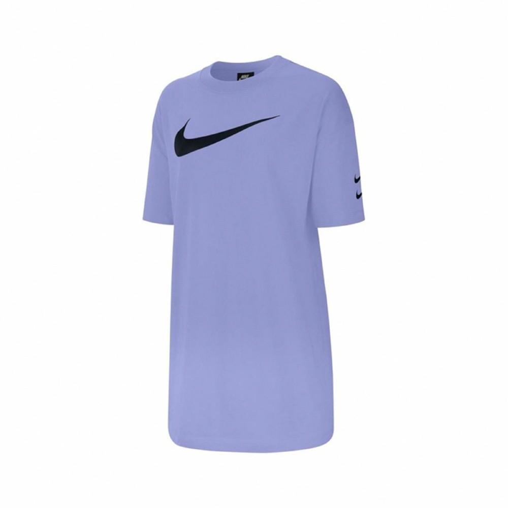Nike 洋裝 NSW Swoosh Dress 女款 長版T恤 圓領 棉質 寬鬆 穿搭 紫 黑 CJ3830569