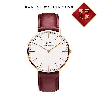 DW 手錶 官方旗艦店 40mm玫瑰金框 Suffolk 經典紅真皮皮革錶
