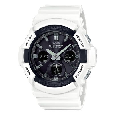G-SHOCK強悍風範設計潮流時尚配備休閒錶(GAS-100B-7)-白X黑面52.5mm