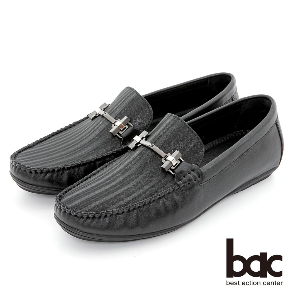 【bac】都會時尚 帥氣壓紋真皮帆船鞋-黑色
