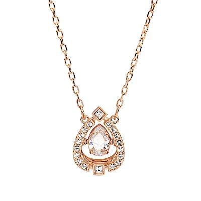 SWAROVSKI 施華洛世奇 浮動璀璨水晶水滴造型玫瑰金項鍊