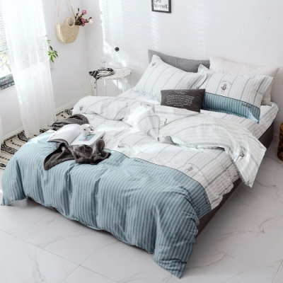 A-ONE 100%純棉-清新E系列-雙人床包/枕套組-花漾小舖