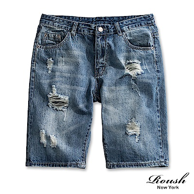 Roush 經典藍色破壞水洗牛仔短褲