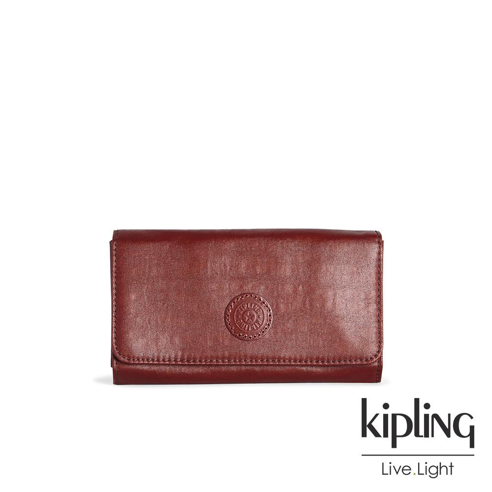 Kipling 雅緻紅褐素面翻蓋長夾-YELINA