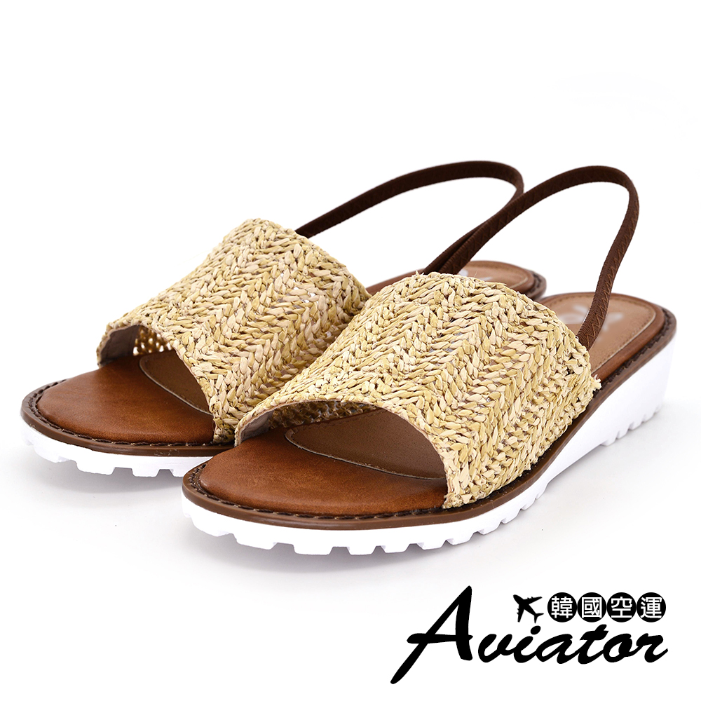 Aviator韓國空運-正韓製熱帶雨林草編設計輕量楔型厚底涼鞋-米