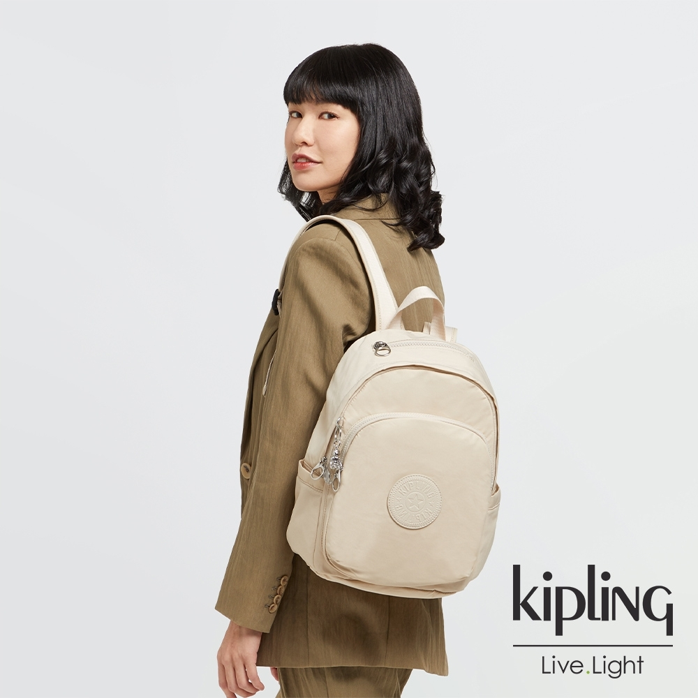 Kipling 閃亮象牙粉上方拉鍊後背包-DELIA