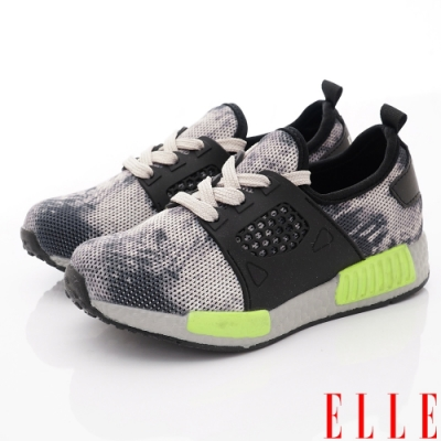 ELLE童鞋 渲染復古運動鞋款 ON93013灰(中大童段)