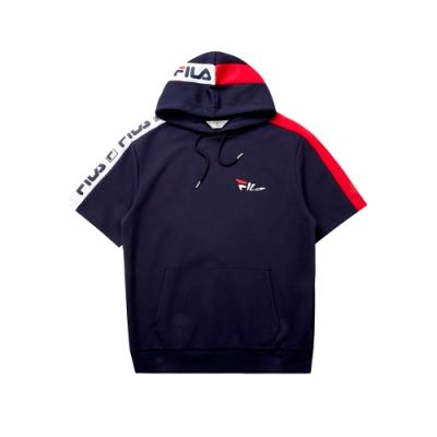 FILA 短袖連帽T恤-丈青 1TET-5438-NV