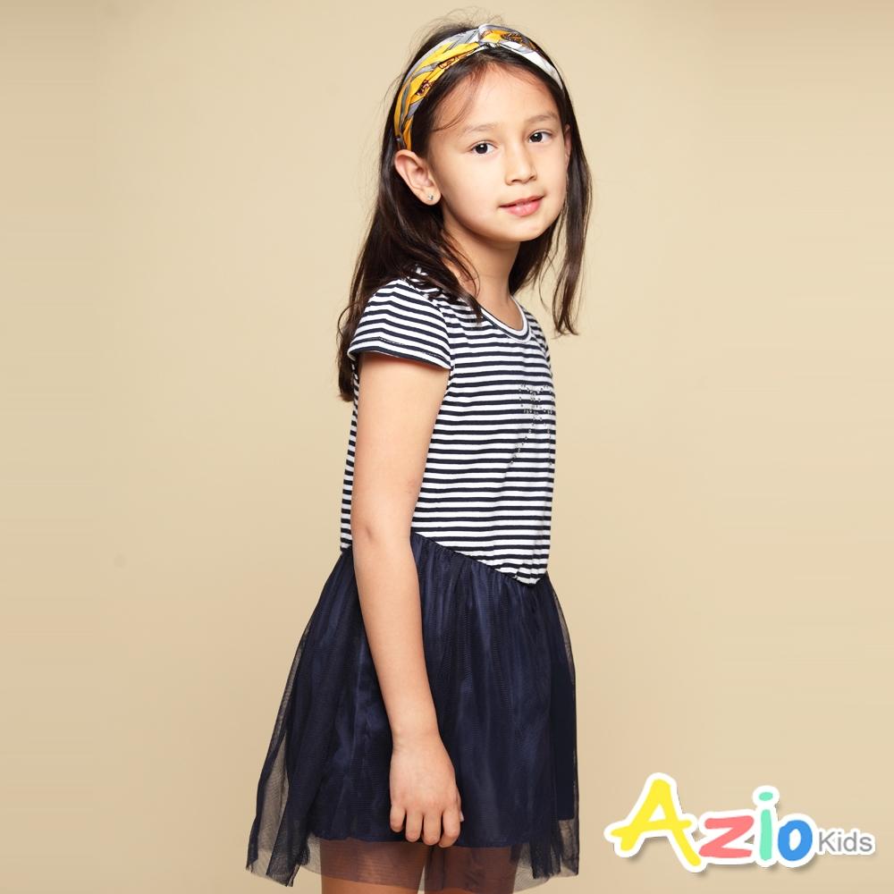 Azio Kids 女童 洋裝 蝴蝶結貼鑽橫條紋網紗短袖洋裝(藍)