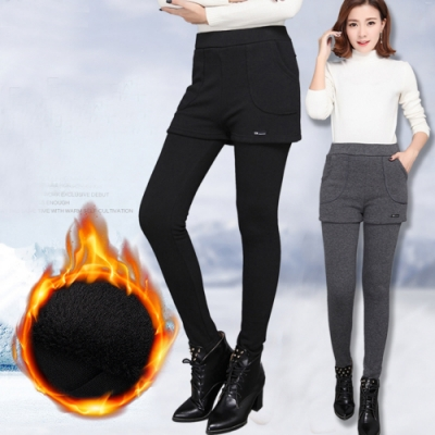 保暖舒適韓版加絨加厚假二件裙褲2XL-5XL(共二色)KVOLL