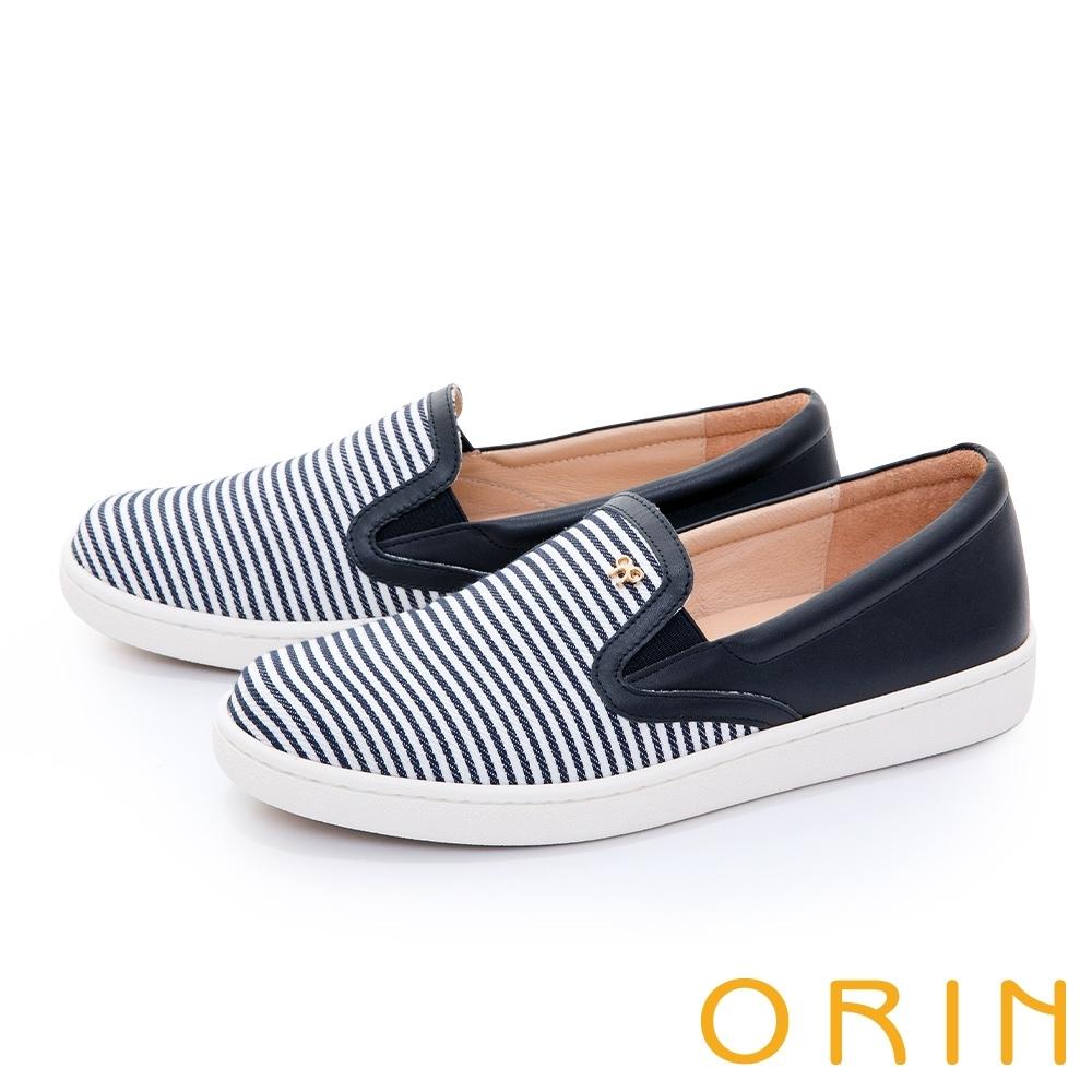 ORIN 條紋拼接五金平底 女 休閒鞋 藍白