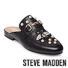 STEVE MADDEN-KANDI-B 刺繡珍珠真皮低跟穆勒鞋-黑色