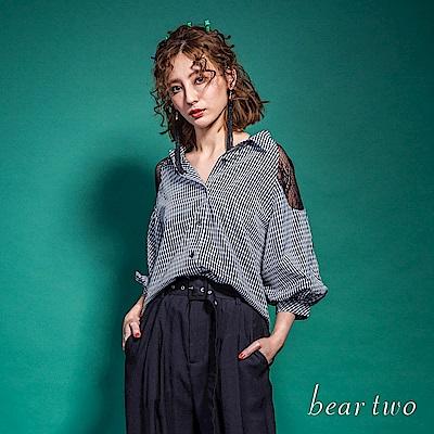 beartwo 大拋袖拼接蕾絲造型上衣(黑色)