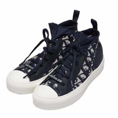 Dior 經典OBLIQUE緹花布拼接小牛皮針織運動鞋(藍)