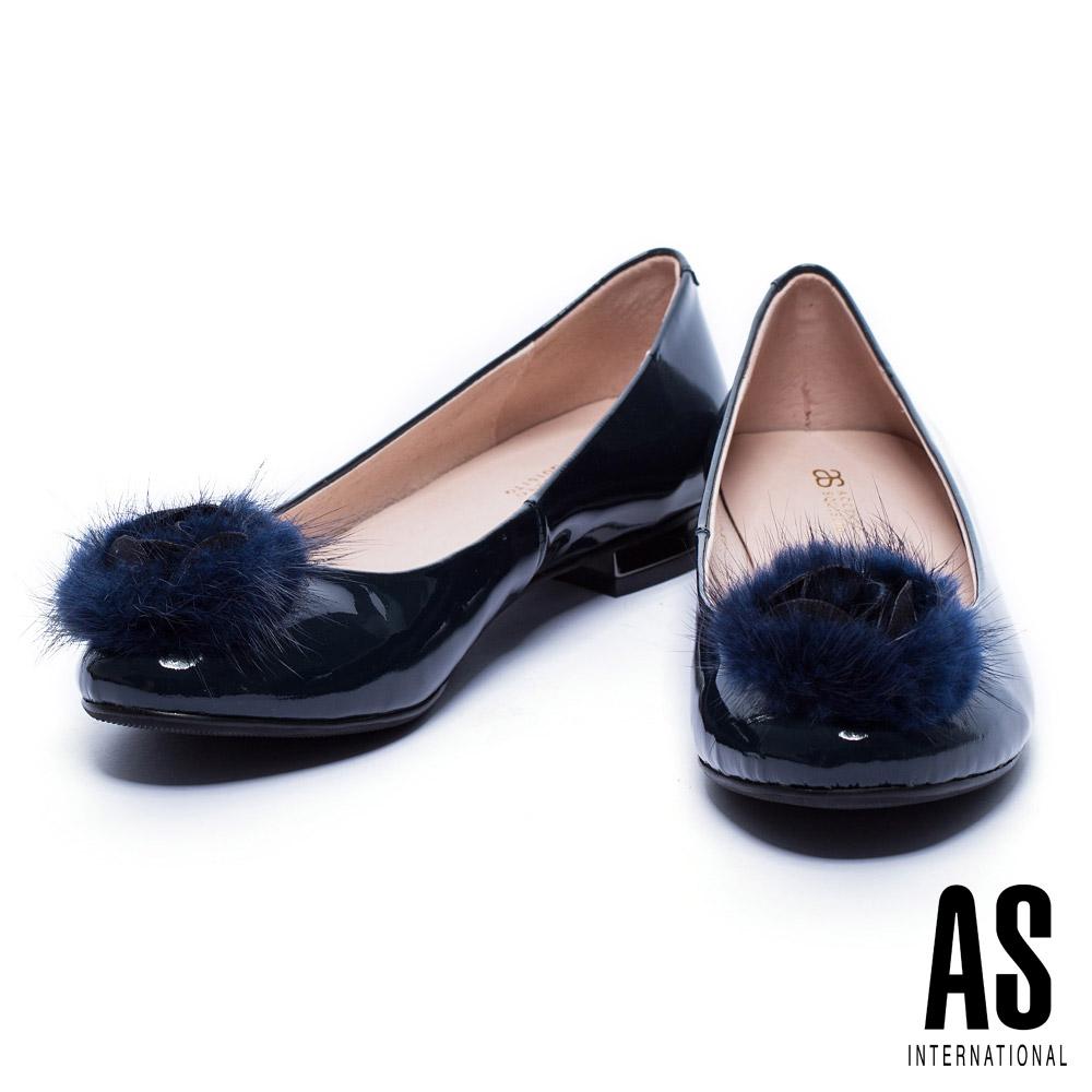 低跟鞋 AS 奢華貂毛設計牛漆皮圓頭低跟鞋-藍