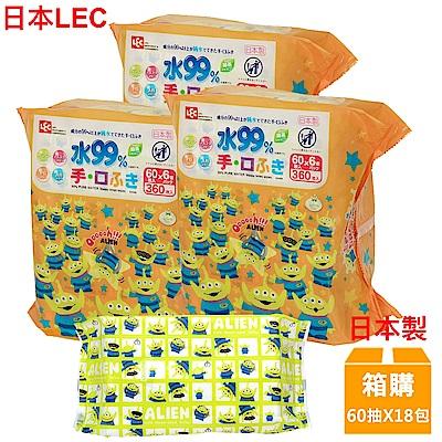 日本LEC 迪士尼三眼怪-口手專用純水99%濕紙巾-60抽x18包入/箱