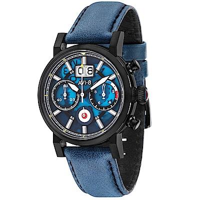 AVI-8 飛行錶 HAWKER HURRICANE 潮流手錶-藍/45mm