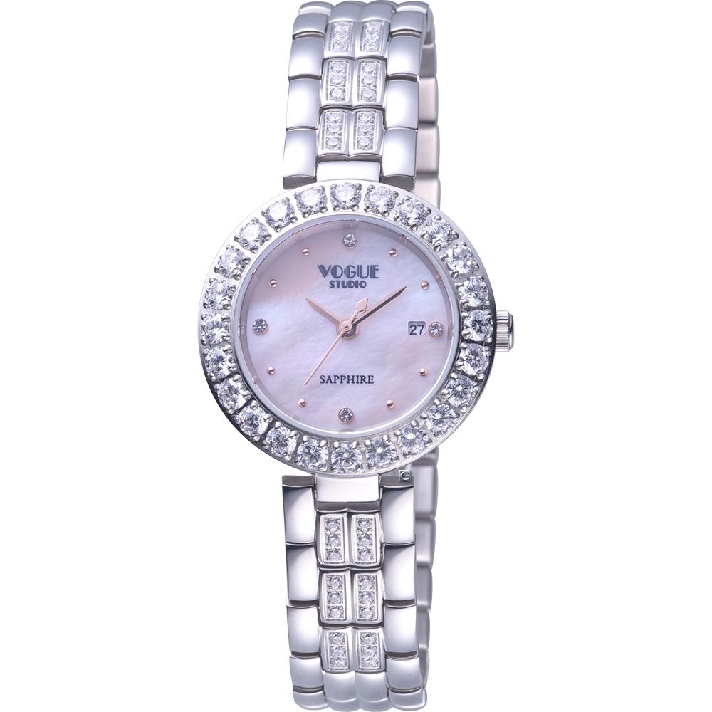 VOGUE 璀璨晶鑽時尚腕錶 VG2104W1P2DD/粉-29mm